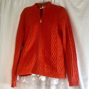 St John Cashmere Orange Zip Front Cardigan M